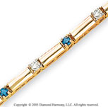 14k Yellow Gold Bar 3mm Blue Sapphire Diamond Bracelet