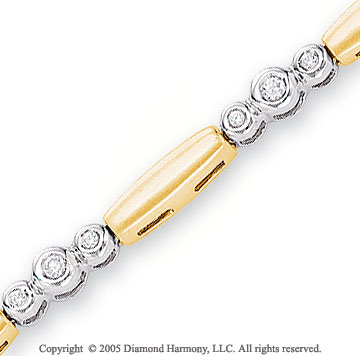 14k Two Tone Gold 3.5mm Bezel 1/2  Carat Diamond Bracelet