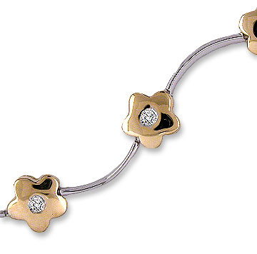 14k Two Tone Gold Flower Wave .40  Carat Diamond Bracelet
