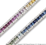14k White Gold Rainbow Gem 1.25 Carat Diamond Tennis Bracelet