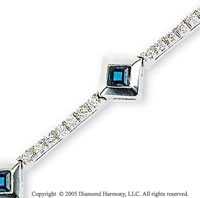 14k White Gold Princess Blue Sapphire Diamond Bracelet