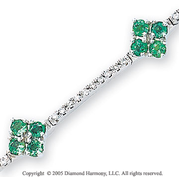 14k White Gold Emerald Flower .60  Carat Diamond Bracelet