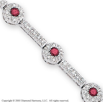 14k White Gold Hidden Catch Ruby 1.20 Diamond Bracelet