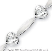 14k White Gold Ribbon Heart .35  Carat Diamond Bracelet