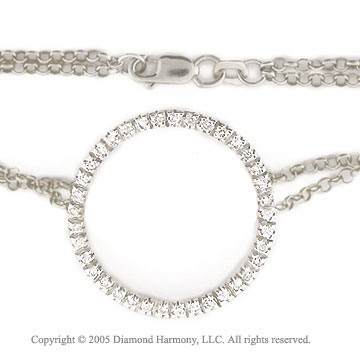14k White Gold 1/2  Carat Diamond Circle of Life Bracelet