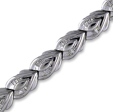 14k White Gold Bloom 1.25  Carat Baguette Diamond Bracelet