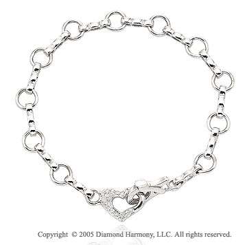 14k White Gold Heart 6.4mm Pave Diamond Charm Bracelet