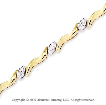 14k Two Tone Gold 1/3 Carat Diamond Fashion Bracelet