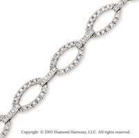 14k White Gold Links Diamond Studded Charm Bracelet