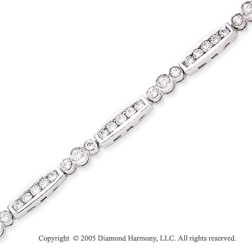 1.20  Carat Diamond 14k Past Present Future Channel Tennis Bracelet