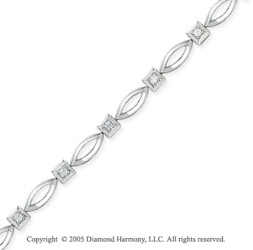 14k White Gold Round Diamond Bracelet