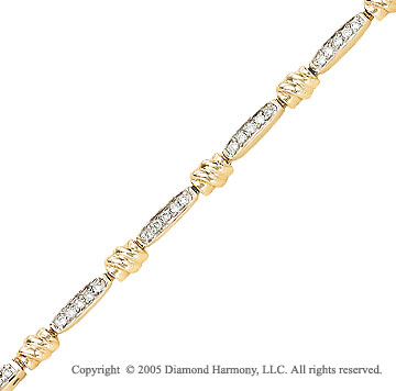 14k Yellow Gold Round Diamond Bracelet