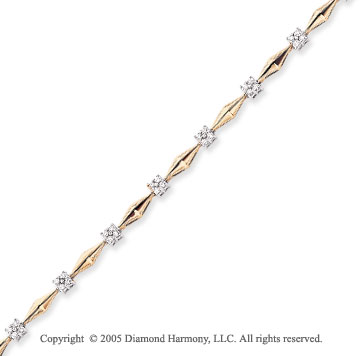 14k Two Tone Gold 0.80 Carat Diamond Bracelet