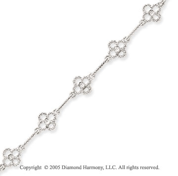 14k White Gold 4 Leaf Clover 1/10  Carat Diamond Bracelet