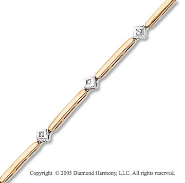 14k Two Tone Gold Round Diamond Bracelet