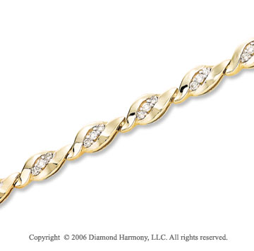 14k Yellow Gold Snug Prong 1.00  Carat Diamond Bracelet
