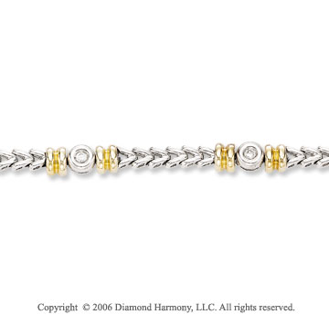 14k Two Tone Gold Bezel Wedges 1/4  Carat Diamond Bracelet