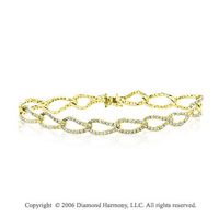 14k Yellow Gold Loops 3 1/2 Carat Diamond Bracelet