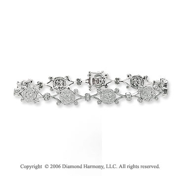 2.00  Carat 14k White Gold Milgrain XOXO Filigree Diamond Bracelet