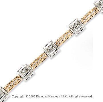 14k Two Tone Gold Rope Squares 3/4  Carat Diamond Bracelet