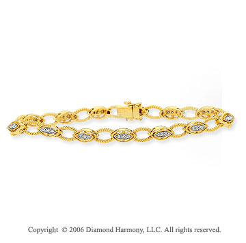 14k Yellow Goldold Rope Milgrain Ovals 1/2  Carat Diamond Bracelet