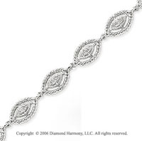 14k White Gold Rope Bezel .20  Carat Diamond Bracelet