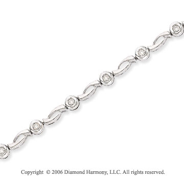14k White Gold Twist 1/2 Carat Diamond Fashion Bracelet