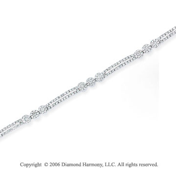 14k White Gold Flower Trios 1.70  Carat Diamond Bracelet