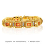 14k Yellow Gold Citrine .20  Carat Diamond Tennis Bracelet