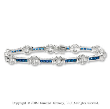 14k Princess Blue Sapphire 2/5 Carat Diamond Tennis Bracelet