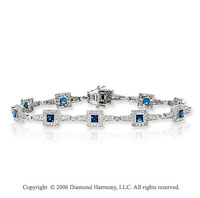 14k Princess Blue Sapphire 1  Carat Diamond Tennis Bracelet