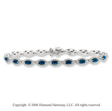 14k White Gold Marquise Blue Sapphire Diamond Tennis Bracelet