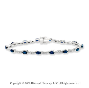 14k White Gold Oval Blue Sapphire 1.15 Carat Diamond Tennis Bracelet