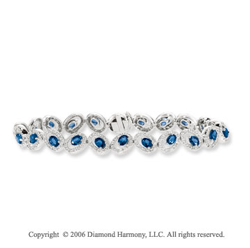 14k White Gold Oval Blue Sapphire 1 1/3 Carat Diamond Tennis Bracelet