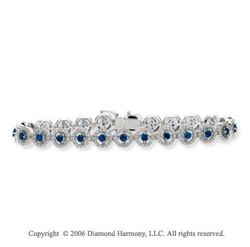 14k White Gold Round Blue Sapphire 1.60  Carat Diamond Tennis Bracelet