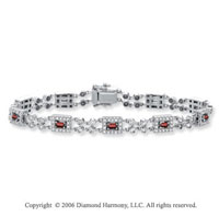 14k White Gold Baguette Ruby 1.25 Carat Diamond Tennis Bracelet