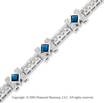 14k Princess Blue Sapphire .55 Carat Diamond Tennis Bracelet