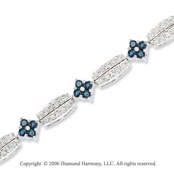 14k White Gold Round Blue Sapphire .85 Carat Diamond Tennis Bracelet