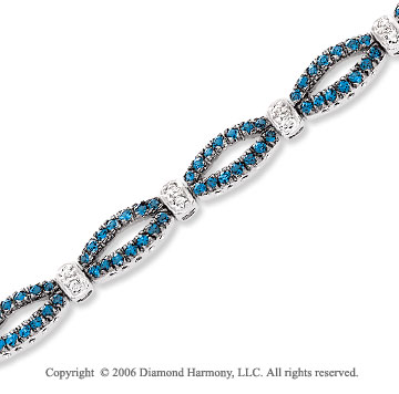 14k White Gold Round Blue Sapphire .20 Carat Diamond Tennis Bracelet