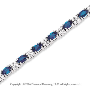 14k White Gold Oval Blue Sapphire 1.10 Carat Diamond Tennis Bracelet
