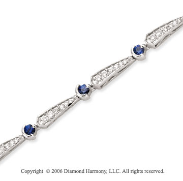 14k White Gold Round Blue Sapphire .65 Carat Diamond Tennis Bracelet