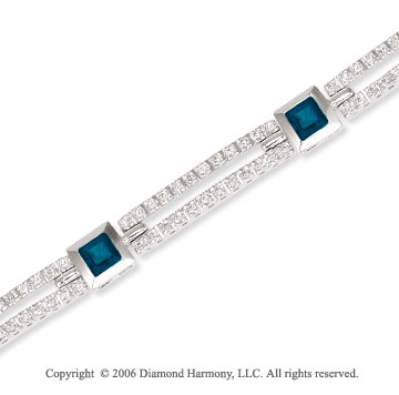 14k Princess Blue Sapphire .75 Carat Diamond Tennis Bracelet