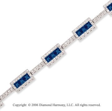 14k Princess Blue Sapphire 1.65 Carat Diamond Tennis Bracelet
