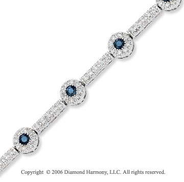 14k White Gold Round Blue Sapphire 1  Carat Diamond Tennis Bracelet