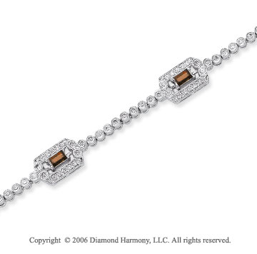 14k White Gold Baguette Ruby 1.00 Carat Diamond Tennis Bracelet