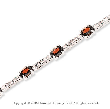 14k White Gold Oval Ruby .70 Carat Diamond Tennis Bracelet