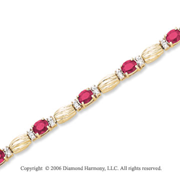 14k Yellow Gold Oval Ruby 1/6 Carat Diamond Tennis Bracelet