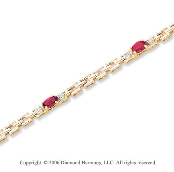 14k Yellow Gold Oval Ruby 10 Diamond Tennis Bracelet
