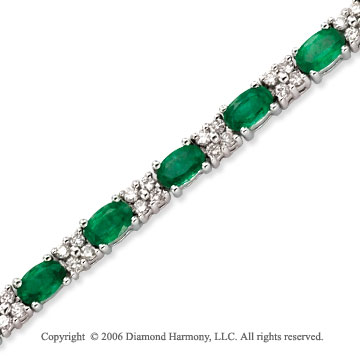 14k White Gold Oval Emerald 1.10 Carat Diamond Tennis Bracelet
