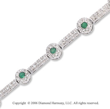 14k White Gold Round Emerald Diamond Tennis Bracelet